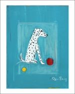 Dalmatian With A Red and A Yellow Ball - 5 Sizes