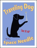 Traveling Dog - Space Needle - Limited Edition Print