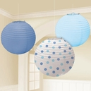 Baby Boy Blue 9.5 in Round Paper Lanterns 3ct