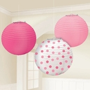 Baby Girl Pink Round Paper Lanterns 3ct