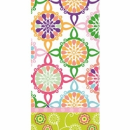 COLORFUL TILE pink GUEST TOWELS 16ct