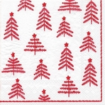 Little Christmas Trees White Red Cocktail Napkin