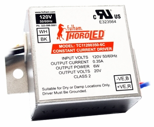 Fulham ThoroLED 6-Watt 350mA Electronic Hardwire Constant Current LED Driver