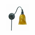 Hyde Park Swing Arm Wall Mount Reading Light with Glass Shade and Dimmer