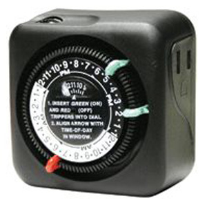 intermatic outdoor plug in timer with 2 on off settings