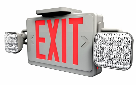 led exit sign combo with led emergency lighting and. Black Bedroom Furniture Sets. Home Design Ideas