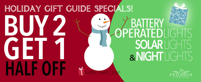Buy 2 Get 1 Special Holiday Savings - Battery, Solar, Night Lights