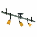 Nora Rail Straight 4-Foot Kit with 3 Halogen Mercure Track Heads and Chicago Glass