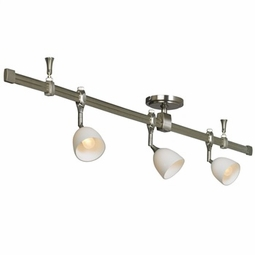Nora Rail Straight 4-Foot Kit with 3 Halogen Mercure Track Heads and Madeleine Glass