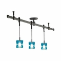Nora Rail Straight 4-Foot Kit with 3 Halogen Pendants with Mega Ice Cube Glass
