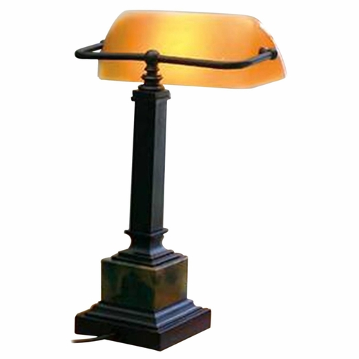 Desk Lamp Glass Shade: Shelburne Bankers Desk Lamp with Amber Glass Shade, House of Troy,Lighting