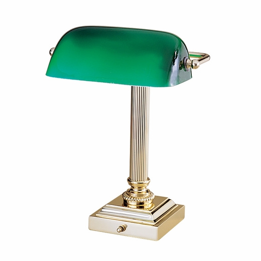 shelburne bankers desk lamp with green glass shade house of troy. Black Bedroom Furniture Sets. Home Design Ideas
