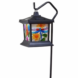 Solar LED Hanging Floral Stained Glass Light
