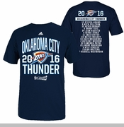 Oklahoma City Thunder adidas 2016 NBA Playoffs Participant Athletic Roster Tee - Navy