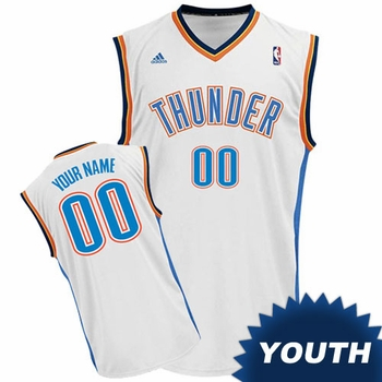 Oklahoma City Thunder adidas Youth Custom Player Replica Home Jersey - White<br><b><i>Choose a player or Personalize your jersey!</i></b> - Click to enlarge