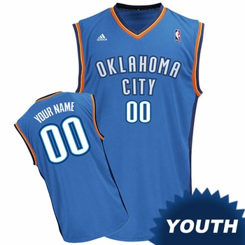 Oklahoma City Thunder adidas Youth Custom Player Replica Road Jersey - Blue<br><b><i>Choose a player or Personalize your jersey!</i></b> - Click to enlarge