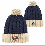 Oklahoma City Thunder adidas Christmas Day Cuffed Pom Knit Hat - Navy/Cream
