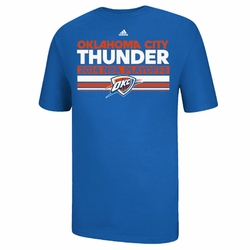 Oklahoma City Thunder Adidas Mesh Bar 2014 Playoffs Clinch Tee - Blue - Click to enlarge
