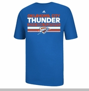 Oklahoma City Thunder Adidas Mesh Bar 2014 Playoffs Clinch Tee - Blue