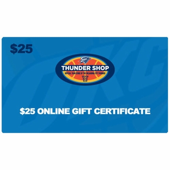 Oklahoma City Thunder $25 Online Gift Certificate - Click to enlarge