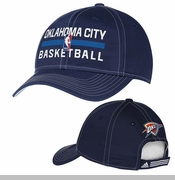 Oklahoma City Thunder adidas Authentic Practice Adjustable Structured Cap - Navy