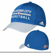 Oklahoma City Thunder adidas Authentic Practice Flexfit Structured Cap - Blue
