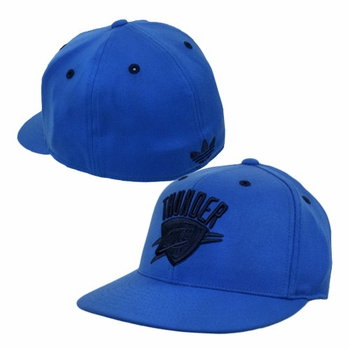 Oklahoma City Thunder adidas Flat Brim Flex Cap - Blue - Click to enlarge