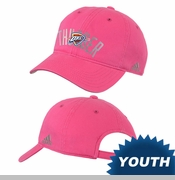 Oklahoma City Thunder adidas Girls Foil Print Adjustable Slouch Cap - Pink
