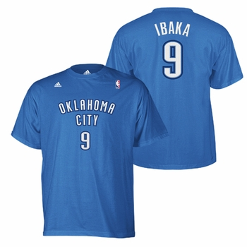 Oklahoma City Thunder adidas Serge Ibaka Name & Number Tee - Blue - Click to enlarge