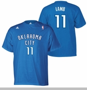 Oklahoma City Thunder adidas Jeremy Lamb Hi-Def Name & Number Tee - Blue