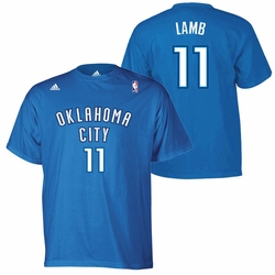 Oklahoma City Thunder adidas Jeremy Lamb Name & Number Tee - Blue - Click to enlarge