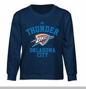 Oklahoma City Thunder adidas Kids Standard Issue Long Sleeve Tee - Navy