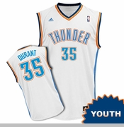 Oklahoma City Thunder adidas Kids Wordmark Revolution Kevin Durant Replica Jersey - White