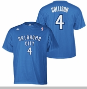 Oklahoma City Thunder adidas Nick Collison Hi-Def Name & Number Tee - Blue