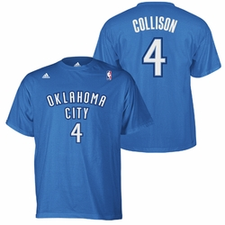 Oklahoma City Thunder adidas Nick Collison Name & Number Tee - Blue - Click to enlarge