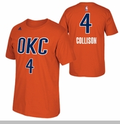 Oklahoma City Thunder adidas Nick Collison Name & Number Alternate Tee - Sunset