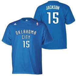 Oklahoma City Thunder adidas Reggie Jackson Name & Number Tee - Blue - Click to enlarge