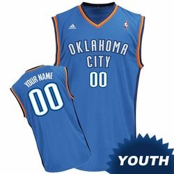 Oklahoma City Thunder adidas Revolution Youth Custom Player Replica Road Jersey - Blue<br><b><i>Choose a player or Personalize your jersey!</i></b> - Click to enlarge
