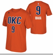 Oklahoma City Thunder adidas Serge Ibaka Name & Number Alternate Tee - Sunset