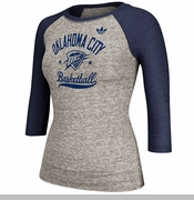 Oklahoma City Thunder adidas Street Sweeper Women's Raglan Tee - Grey