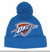 Oklahoma City Thunder adidas Team Logo Cuffed Pom Beanie - Blue