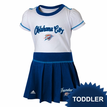 Oklahoma City Thunder adidas Toddler Girls Short Sleeve Top and Skirt Set - White/Navy - Click to enlarge