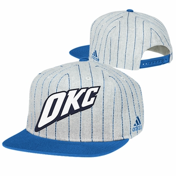 Oklahoma City Thunder adidas Vintage Pinstripe Snapback Cap - Grey/Blue - Click to enlarge