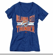 Oklahoma City Thunder adidas Women's 2016 NBA Playoffs Middle Banner Tri-blend V-neck - Blue