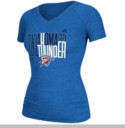 Oklahoma City Thunder adidas Women's Shrinking Type V-Neck Tee - Blue