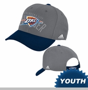 Oklahoma City Thunder adidas Youth Ghost Structured Adjustable Cap - Grey