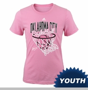 Oklahoma City Thunder adidas Youth Girls All Net Tee - Pink