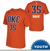 Oklahoma City Thunder adidas Youth Kevin Durant Name & Number Alternate Tee - Sunset