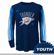 Oklahoma City Thunder adidas Youth Prestige Long Sleeve Performance Tee - Navy