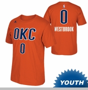 Oklahoma City Thunder adidas Youth Russell Westbrook Name & Number Alternate Tee - Sunset